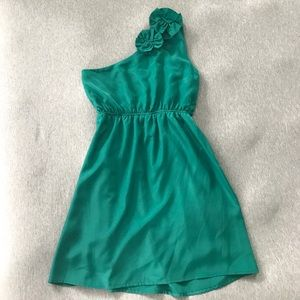 One strap teal dress